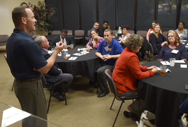 Col. Paul Filcek, 72nd Air Base Wing and Tinker installation commander, welcomes attendees to the Mental Wellness Community Dinner held at the Midwest City Chamber of Commerce Sept. 4, 2019. Community helping agencies and members of Team Tinker were able to share information and ideas on suicide prevention and mental well-being during the event.
