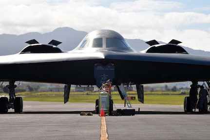 U.S. Air Force B-2 Spirit aircraft flew from RAF Fairford, England, to Lajes Field, Azores, Portugal, on Sept. 9, 2019, to conduct hot pit refueling in the U.S. European Command area of responsibility.