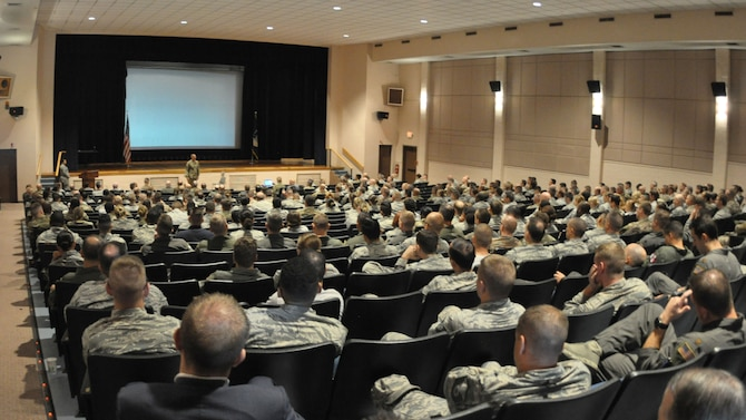 Col. Phil Heseltine, 931st Air Refueling Wing commander, speaks to Citizen Reserve Airmen of the 931 ARW during a Commander's Call Aug. 8, 2019, McConnell Air Force Base, Kan.  The event was part of the Air Force's Resilience Tactical Pause.  According to the Air Force Resiliency website, for the last five years, suicide has been the leading cause of death among Airmen.  As a result of this, Chief of Staff of the Air Force Gen. Dave L. Goldfein ordered all wings to stand down for a day to focus on Airmen's resiliency and suicide prevention.