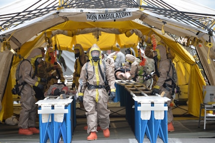 New York Army National Guard Soldiers of the Homeland Response Force for FEMA Region 2 provide decontamination for simulated victims during chemical, biological, radiological or nuclear (CBRN) incident response training at the New York State Preparedness Training Center in Oriskany, N.Y. September 7, 2019.