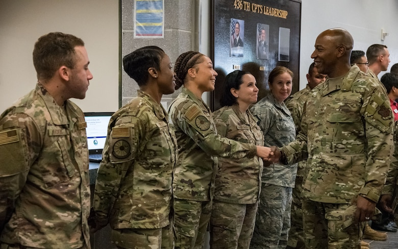 Chief Master Sgt. of the Air Force Kaleth O. Wright is greeted by Airmen from the 436th Force Support Squadron Sept. 3, 2019, at Dover Air Force Base, Del. Wright visited several units on base including aircrew flight equipment and the medical group. (U.S. Air Force photo by Roland Balik)