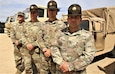(From left) Sgt. 1st Class Justin McCarthy with the 108th Training Command at Charlotte, N.C.; Sgt. 1st Class Eric Juhl with Bravo Company, 3rd Battalion, 415th Infantry Regiment of Helena, Mont.; Sgt. Roger Williams with Charlie Company, 3rd Battalion, 1st Brigade, 334th Regiment, 95th Training Division in Milwaukee; and Sgt. Daniel McElroy with 3rd Battalion, 1st Brigade, 320th Regiment, 95th Training Division at Fort Belvoir, Va., are shown Aug. 21, 2019, at Fort McCoy, Wis. These four Soldiers, along with Master Sgt. Ryan Cameron with U.S. Army Reserve Command (USARC) Headquarters of Fort Bragg, N.C., helped rescue a man and two children from a car accident Aug. 15, 2019, in Sparta, Wis. Thanks to their response, the three accident victims were all safe. All of the Soldiers are current or prior drill instructors who were at Fort McCoy from July to August to support Best Warrior and Drill Sergeant of the Year preparatory training for candidates entering U.S. Army-level competitions. (U.S. Army Photo by Scott T. Sturkol, Public Affairs Office, Fort McCoy, Wis.)
