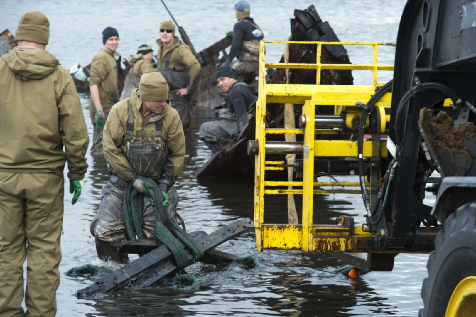 Navy Divers Clear Fishing Vessel from Alaska Harbor in Arctic Exercise