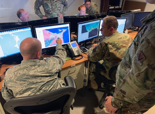 Airmen from the 118th Wing, Tennessee Air National Guard use their imagery analysis skills to assess damage in the Bahamas from Hurricane Dorian September 6, 2019 at Berry Field Air National Guard Base, Nashville, Tenn.