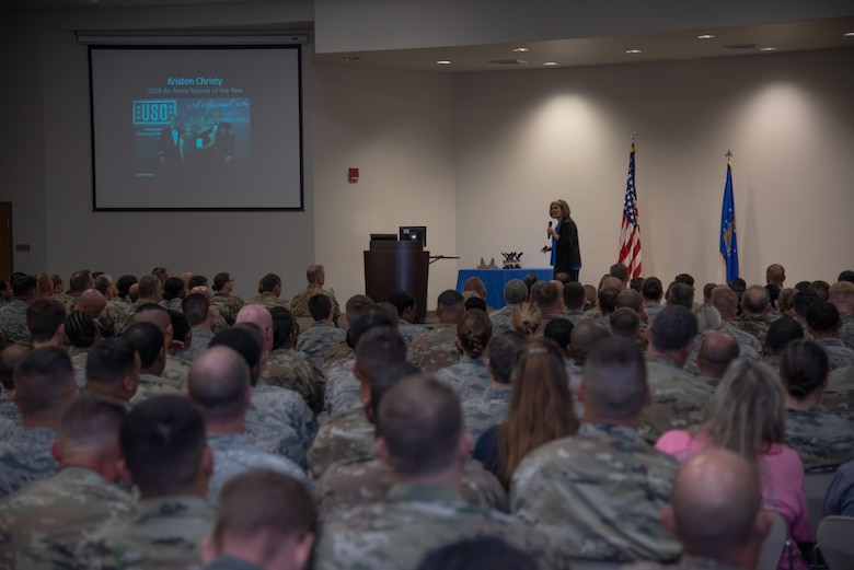 Kristen Christy, the 2018 Air Force Spouse of the Year, shares her personal stories with Reserve Citizen Airmen of the 403rd Wing Sept. 8, 2019 at Keesler Air Force Base, Mississippi. The 403rd Wing held its tactical pause during their September Unit Training Assembly as they hosted Christy during their commander's calls. (U.S. Air Force photo by Staff Sgt. Shelton Sherrill)