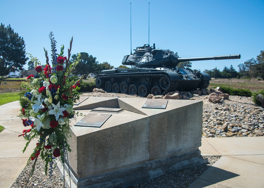 Members of Vandenberg participated in a recognition ceremony for the 75th anniversary of the 11th Armored Division's completion of training, which occurred on Camp Cooke, September 10, 2019 at Vandenberg Air Force Base, Calif. The 11th AD was a division of the United States Army in World War II, which arrived at Camp Cooke February 11, 1944 and disbanded in 1945 after the war ended. (U.S. Air Force photo by Airman 1st Class Aubree Milks)