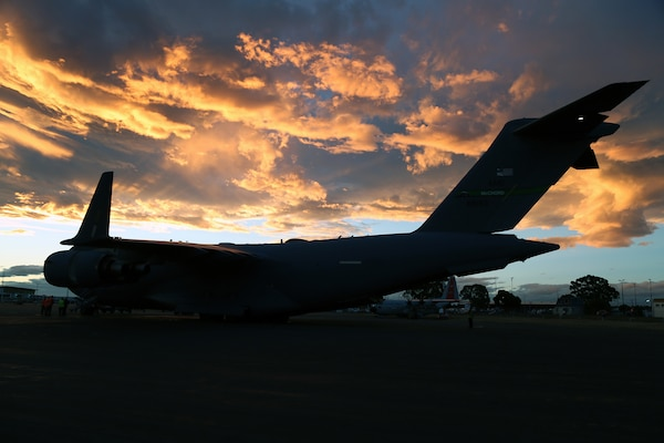A U.S. Air Force C-17 Globemaster III is unloaded after returning from one of the last Operation Deep Freeze flights of the 2018-2019 Antarctic research season at the Christchurch International Airport, Christchurch, New Zealand, Feb. 21, 2019. The seasons run annually from September 1st to July 31st. Led by Pacific Air Forces, the Joint Task Force-Support Forces Antarctica (JTF-SFA) provides the National Science Foundation-managed U.S. Antarctic Program with logistical support.