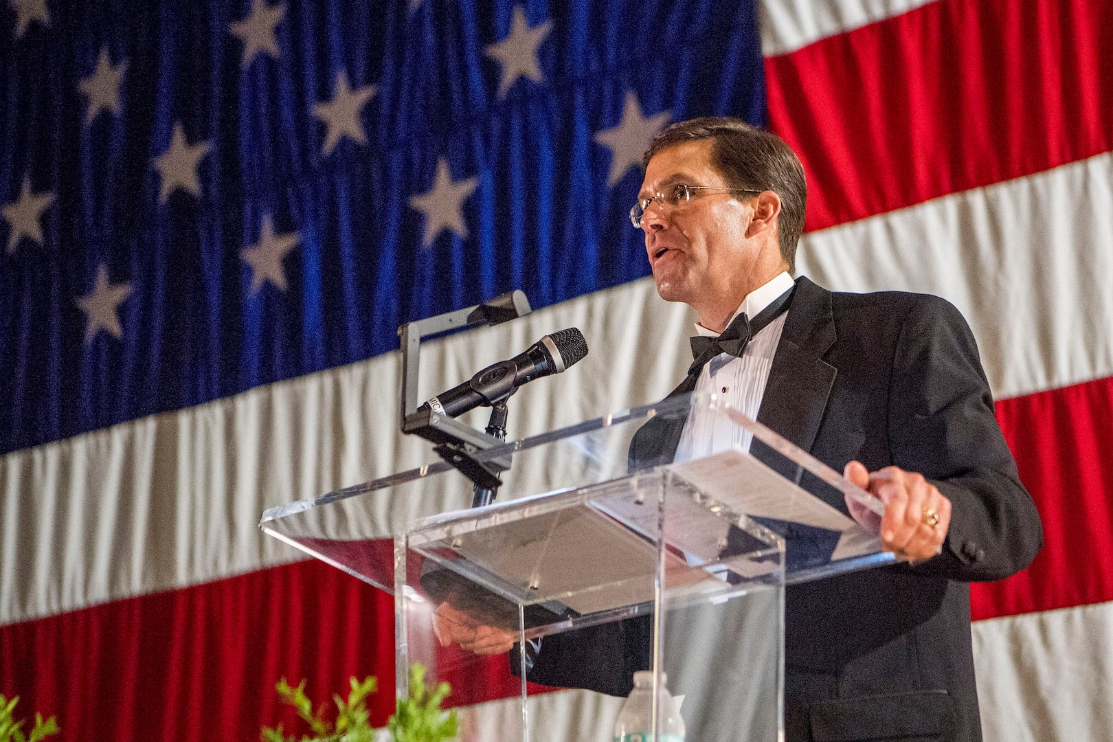 Former District of Columbia National Guardsman Dr. Mark T. Esper, who became the 27th Secretary of Defense in July, speaks at the District of Columbia National Guard's Military Ball May 5, 2018 in the DCNG Armory. Esper is a former DCNG Capital Guardian, having served in the Mobilization Augmentation Detachment 4, as a major, prior to and following the Sept. 11 attacks