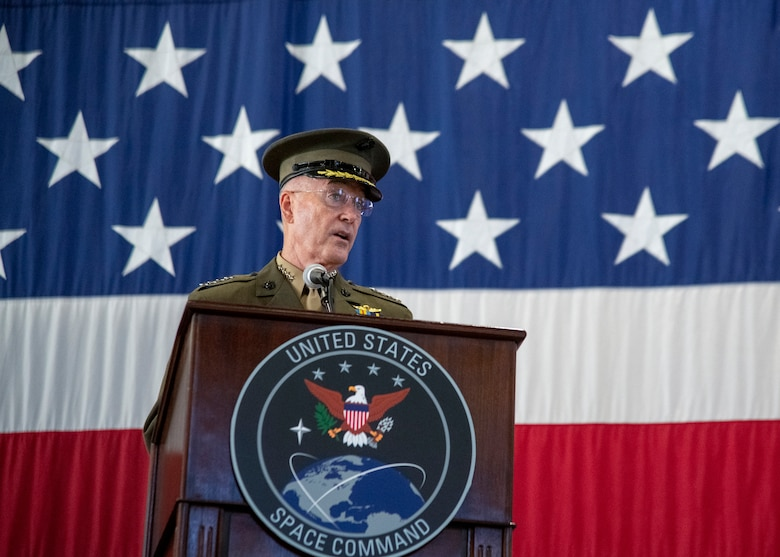 Marine Corps Gen. Joe Dunford, chairman of the Joint Chiefs of Staff, delivers remarks at the U.S. Space Command Recognition and Establishment Ceremony at Peterson Air Force Base, Colorado Sept. 9, 2019.