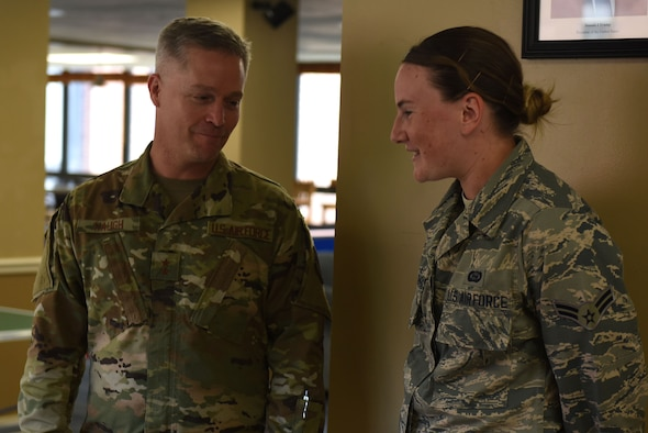 U.S. Air Force Maj. Gen. Timothy Haugh, Twenty-Fifth Air Force commander, speaks with Airman 1st Class Kylie, 32nd Intelligence Squadron, about dormitory conditions and quality of life for 70th Intelligence, Surveillance and Reconnaissance Wing Airmen at Fort George G. Meade, Maryland, Sept. 9, 2019. Haugh recently took command of Twenty-Fifth Air Force, and is visiting various wings during a unit familiarization and wellness tour. (U.S. Air Force photo by Senior Airman Gerald R. Willis)