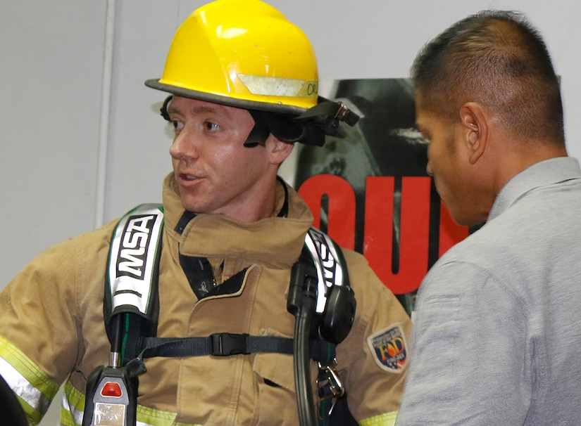 Capt. Robert Schapiro, Task Force Javelin liaison and volunteer fire fighter honored 343 firefighters who lost their lives on Sept. 11, 2001 by climbing 110 stories in full fire fighter kit, Sept. 6, 2019, at the Camp Arifjan gym.