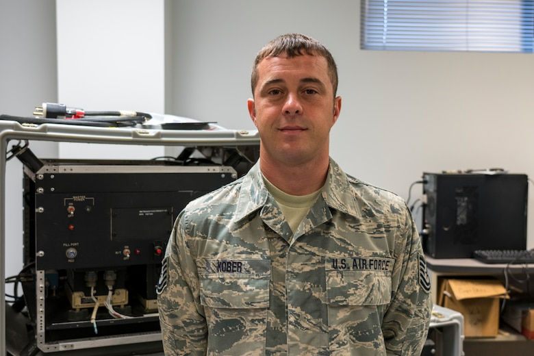 Tech. Sgt. Russell Kober, 403rd Maintenance Squadron meteorology equipment technician, poses for a photo, Aug. 26, 2019 at Keesler Air Force Base, Mississippi. Kober was selected as the 403rd Wing's second quarter award winner in the noncommissioned officer category. (U.S. Air Force photo by Tech. Sgt. Christopher Carranza)