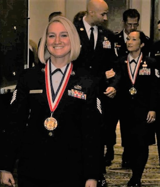 Tech Sgt. Alayna DeHerrera, 50th Space Wing Staff Agency administrative support non-commissioned officer in charge, was recognized as one of three Schriever Air Force Base nominees for the noncommissioned officer category during the 2018 Air Force Association Airmen of the Year awards ceremony at the AFA Mile High Chapter, Aug. 17, 2019. The Lance P. Sijan Chapter of the Air Force Association is one of the largest and most active AFA chapters in the nation with more than 2300 members, supporting and connecting Front Range Airmen from all service categories. (U.S. Air Force courtesy photo).
