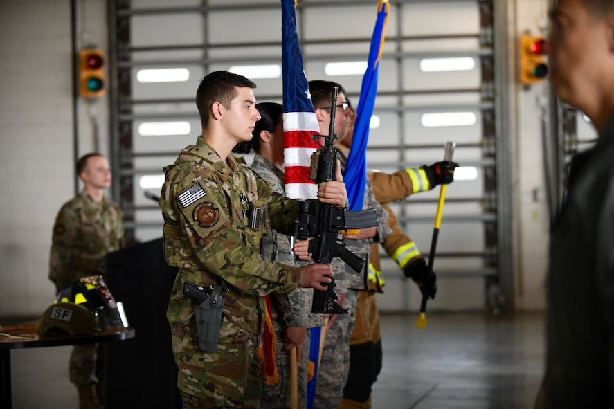 An honor guard, consisting of defenders and firefighter from the 4th Fighter Wing, present the colors during the opening of the 9/11 Remembrance Ceremony at Seymour Johnson Air Force Base, North Carolina, Sept. 11, 2019.