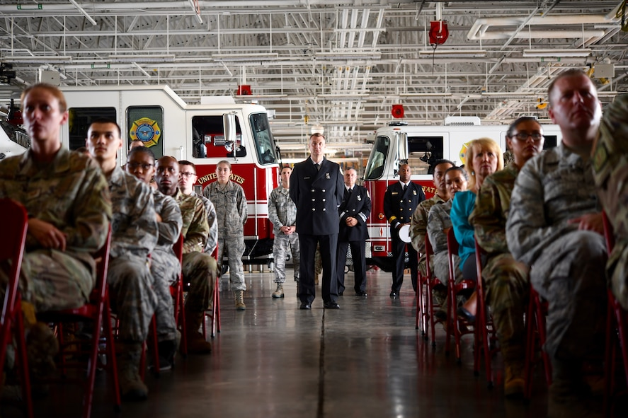Michael Blackburn, 4th Civil Engineer Squadron assistant fire chief, stands at the center of the 9/11 Remembrance Ceremony at Seymour Johnson Air Force Base, North Carolina, Sept. 11, 2019.
