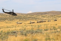 Aircraft with the 16th Combat Aviation Brigade provide support to the Illinois Army National Guard during Rising Thunder 19 in Yakima, Wash., Sept. 7, 2019.
