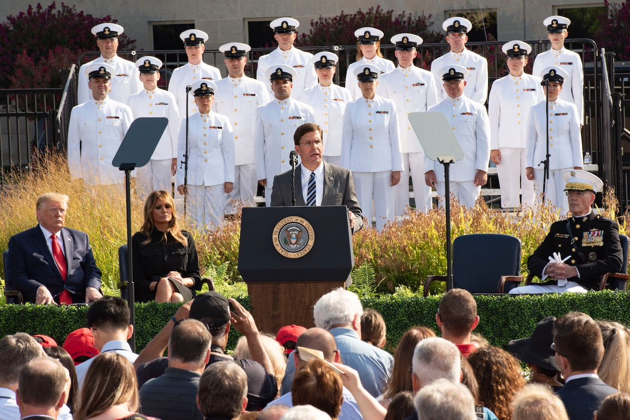 Defense Secretary Dr. Mark T. Esper speaks at a ceremony.