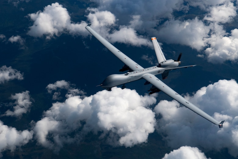A U.S. Air Force MQ-9 Reaper flies during RED FLAG-Alaska 19-2, June 19 2019, at Eielson Air Force Base, Alaska. This is the first time the MQ-9 aircraft participated in the Pacific Air Forces-sponsored exercise. The aircraft was controlled by Airmen of the 174th Attack Wing more than 4,000 miles away at their home station at Hancock Air Force Base, New York. (U.S. Air Force photo by Senior Airman Daniel Snider)
