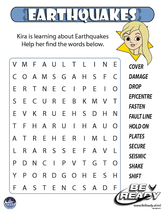 Earthquakes Activity Sheet Ages 8-12