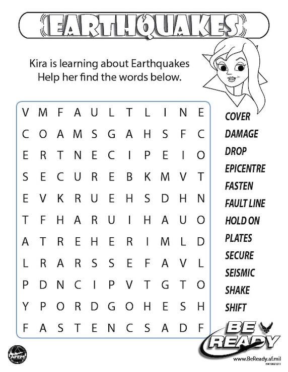 Earthquakes Word Search Activity Color Sheet Ages 8-12