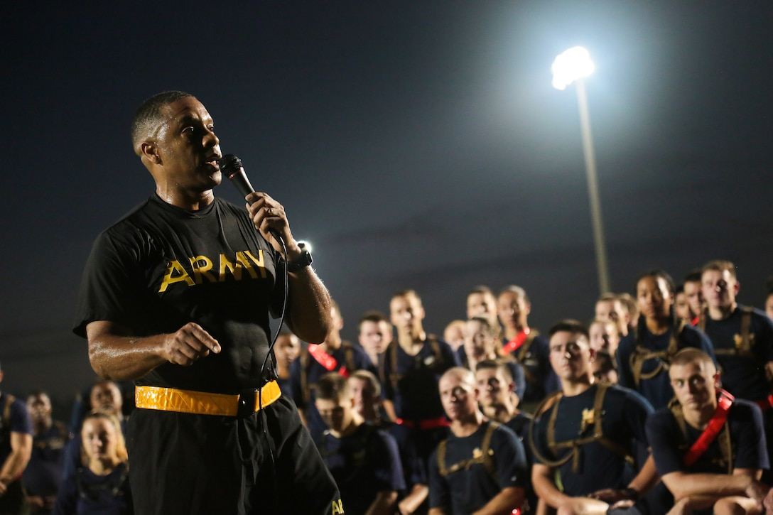 U.S. Army Brig. Gen. Johnnie Johnson, U.S. Central Command's operations directorate chief, addresses a group of Reserve Officers' Training Corps (ROTC) cadets on the importance of military service following a group run at the University of South Florida (USF) campus, Sept. 11, 2019. This annual Patriot Day joint run is an opportunity for all USF ROTC units to come together and build camaraderie as a group while remembering those who lost their lives on 9/11. (U.S. Central Command Public Affairs photo by Tom Gagnier)
