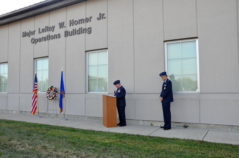 Maj. (Chaplain) David Williams, 88th Air Base Wing Chaplain Corps, offers words of comfort to members of the 445th Airlift Wing, Sept. 11, 2019, during the wing's Patriot Day ceremony.