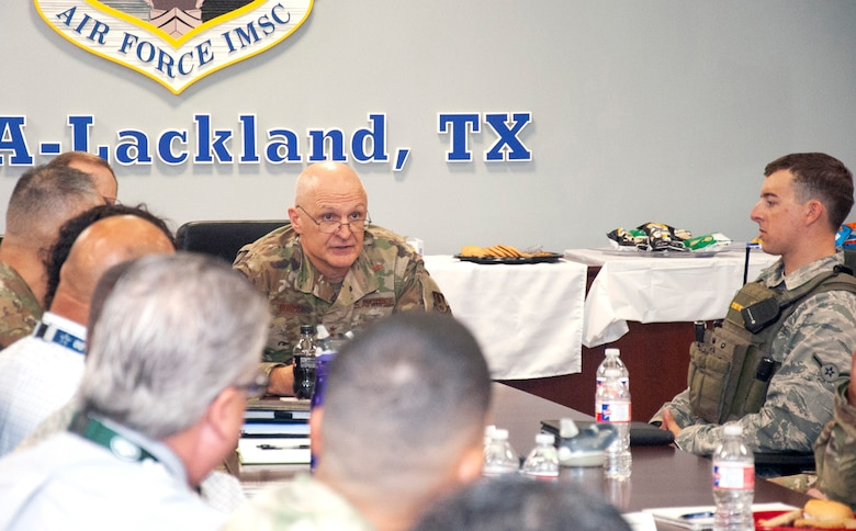 During his visit to Air Force Materiel Command units in San Antonio, AFMC Commander Gen. Arnold W. Bunch, Jr., held a mentoring lunch session with members of the command at Air Force Installation and Mission Support Center headquarters. (U.S. Air Force photo by Armando Perez)