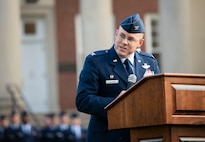 375th AMW commander gives speech