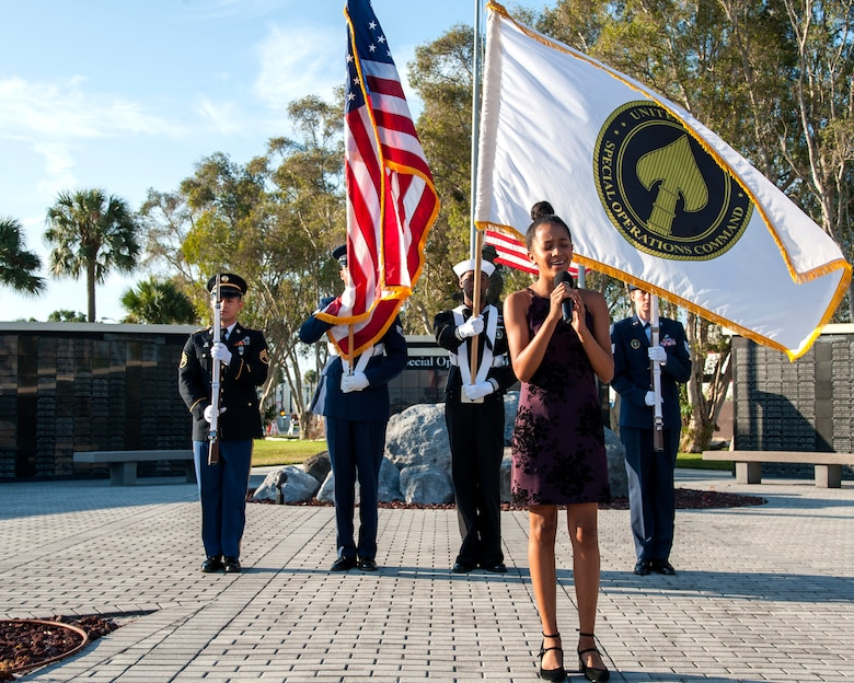 Marlee Michael performs the National Anthem during the 18th annual 9/11 memorial ceremony and ruck march at MacDill Air Force Base, Fla., Sept. 11, 2019.