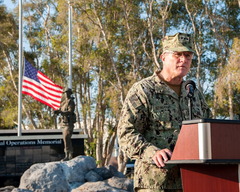 U.S. Navy Vice Adm.Tim Szymanski, U.S. Special Operations Command deputy commander, delivers a speech at MacDill Air Force Base, Fla., Sept. 11, 2019.