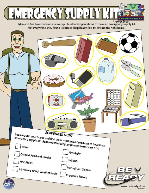 Answers Sheet to the Emergency Supply Kits Preteen Sheet