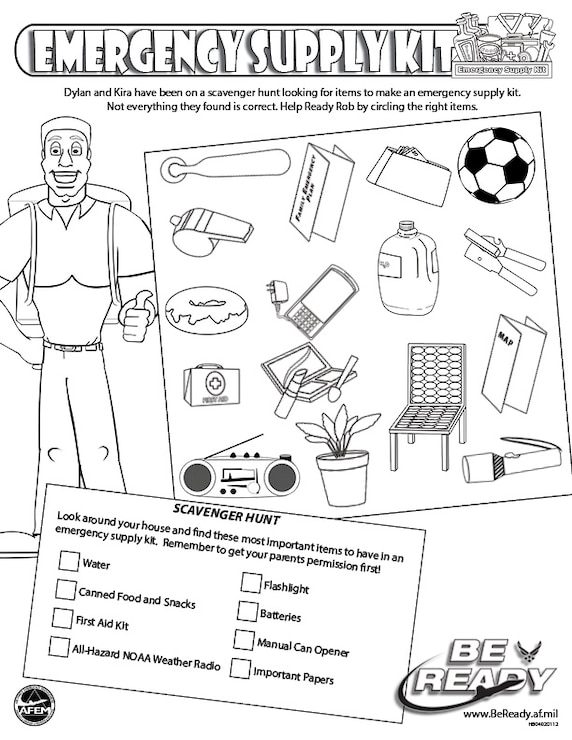 Activity Sheet Ages 8-12 on Emergency Supply Kit