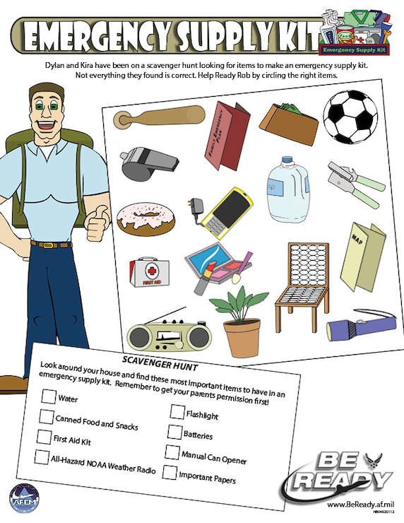 Activity Sheet Ages 8-12 on Emergency Supply Kits