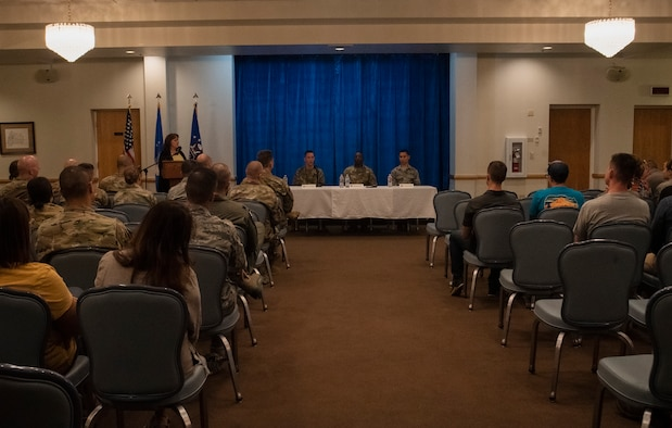 Senior Master Sgt. Cody Stollings, 790th Missile Security Forces Squadron operations superintendent, Tech. Sgt. Robert Gerard, 90th Security Forces Squadron commander support staff, and Airman Alfonso Santiago, 90th Medical Group medical technician, sit on a panel for a story telling event Sept. 10 2019, at F.E. Warren Air Force Base, Wyo. The event was hosted on Suicide Prevention Day and aimed to raise awareness about suicide prevention. (U.S. Air Force photo by Senior Airman Abbigayle Williams)
