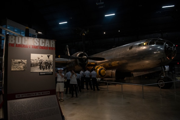 "Airmen from the 90th Missile Wing views the B-29 Superfortress ""Bockscar"" exhibit within the National Museum of the U.S. Air Force Sept. 4, 2019, at Wright-Patterson Air Force Base, Ohio. Bockscar was the plane that dropped the atomic bomb on Nagasaki. (U.S. Air Force photo by Senior Airman Abbigayle Williams)"