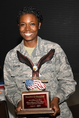 U.S. Air Force Tech. Sgt. Neosha Benson, a services specialist assigned to the 307th Force Support Squadron, earns the 2019 Patriot of the Year Award in the Reserve/Guard military category during a ceremony at the Bossier Civic Center, Sept. 11, 2019.  The event recognized efforts of Bossier and Caddo first responders who have demonstrated job performance excellence and have gone beyond the call of duty to improve the quality of life for others in the community. (U.S. Air Force photo by Tech. Sgt. Callie Ware)