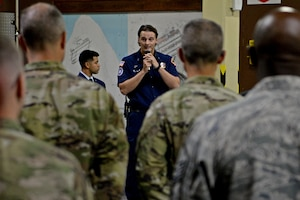 Members of Team Andersen attend a September 11 memorial ceremony on Andersen Air Force Base, Guam, Sept. 11, 2019.