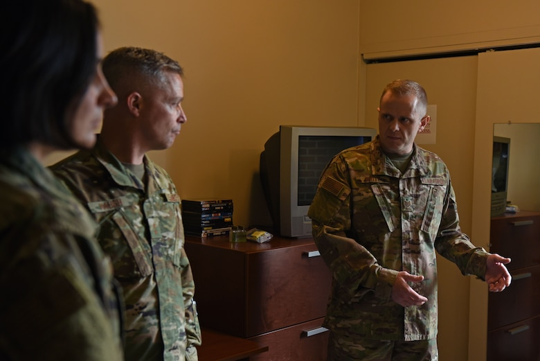 U.S. Air Force Maj. Gen. Timothy Haugh, Twenty-Fifth Air Force commander, speaks with Tech. Sgt. Logan, 707th Force Support Squadron dorm manager, about dormitory conditions during a health and wellness visit to the junior enlisted McNeill facility at Fort George G.  Meade, Maryland, Sept. 9, 2019. Haugh and Chief Master Sgt. Summer Leifer, Twenty-Fifth Air Force command chief, visited America's cryptologic wing for the first time since assuming command of the Numbered Air Force, Aug. 29, 2019. (U.S. Air Force photo by Senior Airman Gerald R. Willis)
