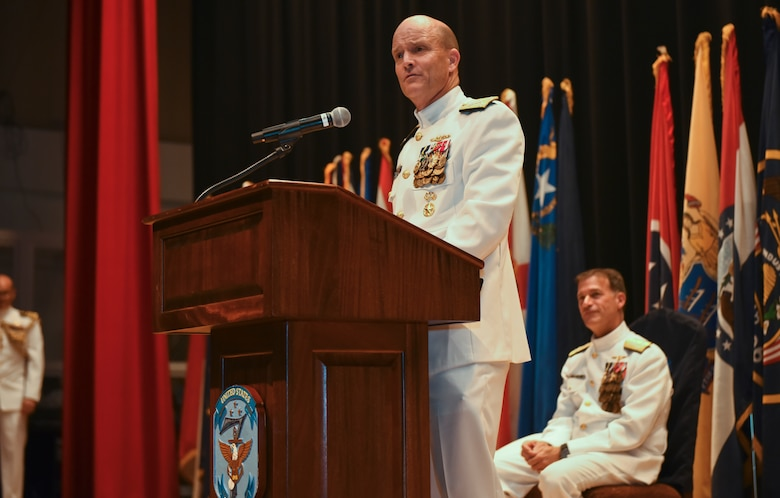 190912-N-CN315-1184 YOKOSUKA, Japan (September 12, 2019) Vice Adm. Bill Merz delivers remarks to the audience during the change of command ceremony for Commander, U.S. Seventh Fleet at the Fleet Theater on board Yokosuka Naval Base. Vice Adm. William R. Merz assumed command of the 7th Fleet from Vice Adm. Phil G. Sawyer during the ceremony.