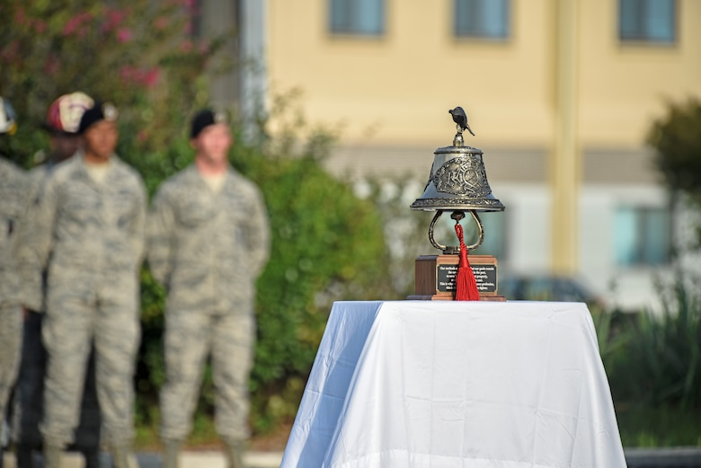The 8th Fighter Wing held a September 11 Remembrance ceremony at Kunsan Air Base, Republic of Korea, Sept. 11, 2019. The ceremony was held in remembrance of the 2,977 people who lost their lives on Sept. 11, 2001, in New York City, Washington, D.C., and outside Shanksville, Pennsylvania. The ceremony included a ringing of a bell, F-16 Fighting Falcon flyover and flag folding and presentation. (U.S. Air Force photo by Staff Sgt. Mackenzie Mendez)