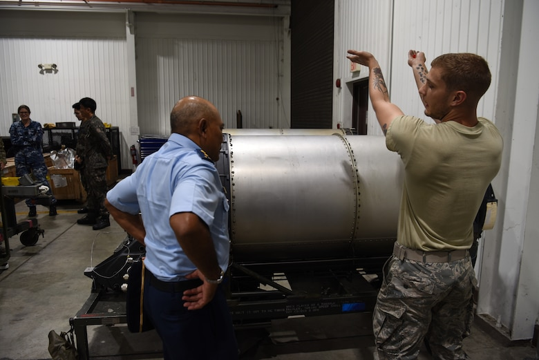 U.S. Air Force Airman 1st Class Zachary Baker, an avionics weapon maintenance back-shop troop assigned to the 51st Munitions Squadron, explains how the A-10 Thunderbolt II weapon system is loaded into the aircraft to Indonesian air force officers during the 2019 Logistics and Safety Symposium held at Osan Air Base, Republic of Korea, Sept. 5, 2019.