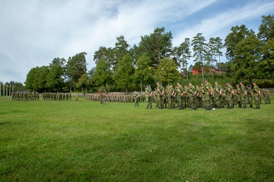 U.S. Marines with 1st Battalion, 8th Marines, Marine Rotational Force–Europe 19.2, Marine Forces Europe and Africa, and Swedish Marines from 1st Marine Regiment, conduct a closing ceremony during Exercise Archipelago Endeavor 19 in the Berga Naval Base, Sweden, Aug. 30, 2019.