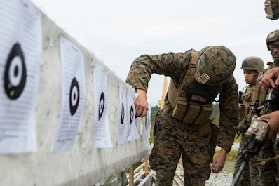 A U.S. Marine with Marine Rotational Force-Europe 19.2, Marine Forces Europe and Africa, evaluates target impacts and makes corrections during a rifle range in Setermoen, Norway, Aug. 28, 2019.