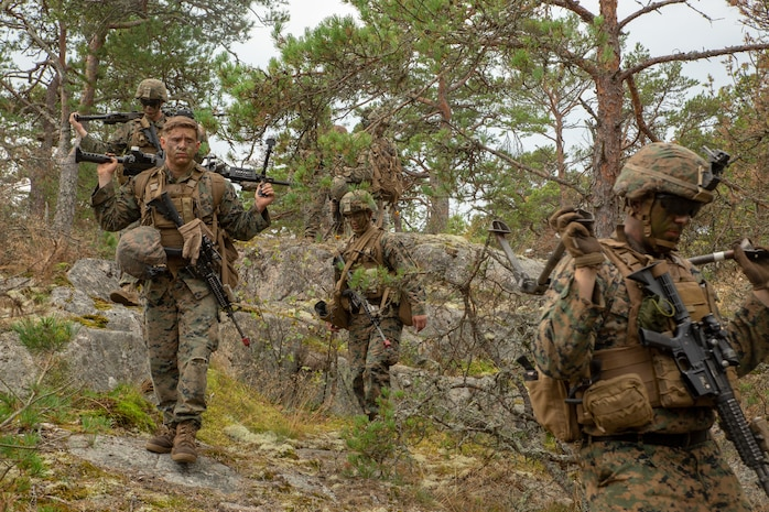 U.S. Marines with 1st Battalion, 8th Marines, Marine Rotational Force–Europe 19.2, Marine Forces Europe and Africa, move to an extraction point after conducting an amphibious assault raid as part of Exercise Archipelago Endeavor 19 in the Archipelago Islands, Sweden, Aug. 28, 2019.