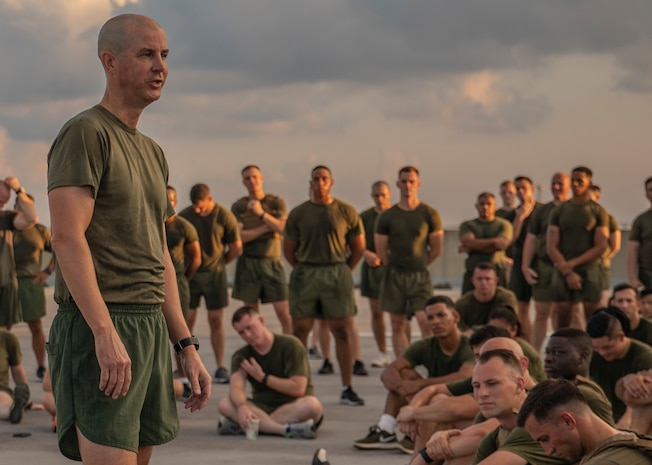U.S. Marine Corps Col. Torrens Miller, commanding officer with Headquarters Battalion, Marine Forces Reserve, gives a speech after a Total Force Fitness event at Marine Corps Support Facility New Orleans, Sept. 11, 2019. During his speech, Miller spoke about the tragedy of 9/11 and encouraged the Marines to reflect on why they serve. This was part of a MARFORRES Total Force Fitness event inspired by the 18th anniversary of 9/11 and the efforts of the first responders at the World Trade Center. The exercise consisted of Marines ascending and descending a five story stairwell 11 times, resulting in a total of 110 stories, which is equivalent to the height of the World Trade Center. (U.S. Marine Corps photo by Pfc. Leslie Alcaraz)