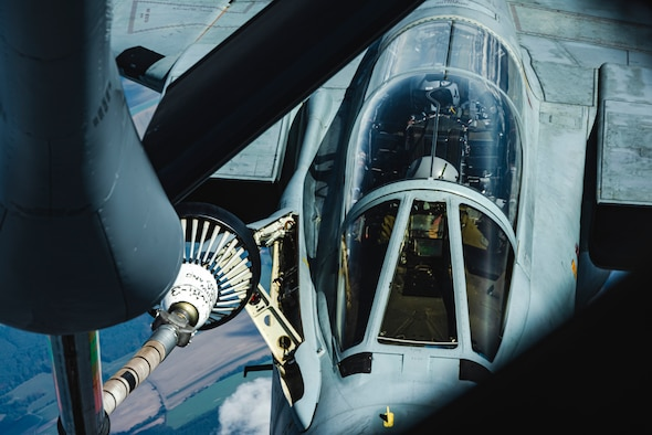 A German air force PA-200 Tornado conducts aerial refueling from a U.S. Air Force KC-135 Stratotanker.