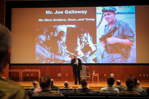 """War correspondent and author Joseph Galloway speaks to the National Air and Space Intelligence Center Aug. 27 about the experiences described in his book """"We Were Soldiers Once…and Young."""" The book – which Galloway co-wrote alongside Lt. Gen. Harold Moore – tells the story of the Battle of the Ia Drang and went on to inspire the movie """"We Were Soldiers."""" (U.S. Air Force photo by Senior Airman Michael Hunsaker)"""