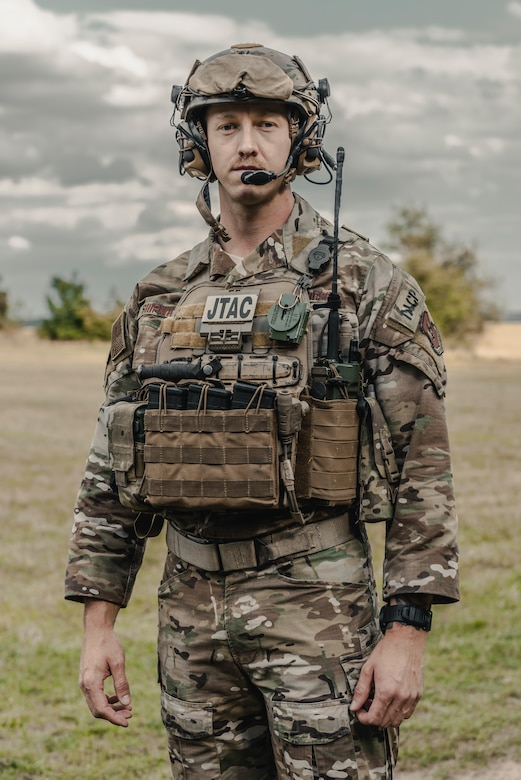 U.S. Air Force Tech. Sgt. Ryan Shipman, 2nd Expeditionary Air Support Operations Squadron battalion Tactical Air Control Party noncommissioned officer in charge, poses in the staging area during exercise Ample Strike 2019, near Náměšť Air Base, Czech Republic.