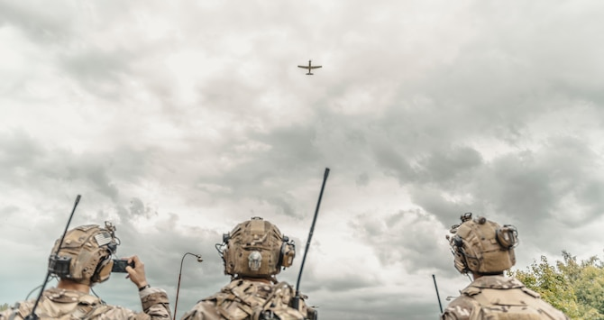 U.S. Air Force 2nd Expeditionary Air Support Operations Squadron battalion Tactical Air Control Party Airmen observe a show of force fly over during Ample Strike 2019.