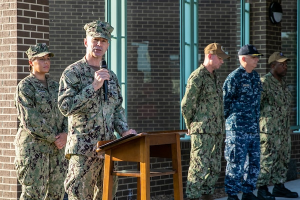Norfolk Naval Shipyard Commander, Capt. Kai Torkelson, honors the fallen during a Patriots Day Remembrance Ceremony at America's Shipyard Sept. 11.